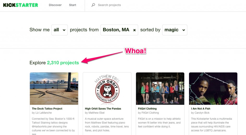 Kickstarter Search Boston